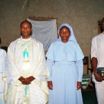 Fr Aloysious and religious people from Wekomiire Parish come to celebrate mass with the children. Fr. Aloysious is the director of the project.
